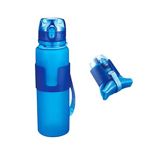 FLYDEER Faltbare Wasserflasche Zusammenklappbare Silikon Trinkflasche Nahrungsmittelgrad Silikon Sport Wasserflasche mit Auslaufsicherer Überwurfmutter, BPA Geben Frei 500ML (Blau)