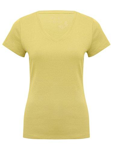 M&Co Ladies Soft Cotton Jersey Short Sleeve Plain V Neck T-Shirt