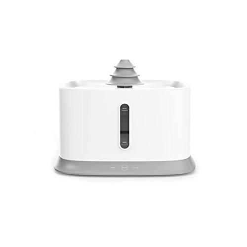 Gyfdjh Intelligenter Wasserspender für Haustiere (4,3 l), Fünfschicht-Umwälzfilter, geräuscharme Wasserpumpe - mit Innovativem Antitrocken-Design,White -