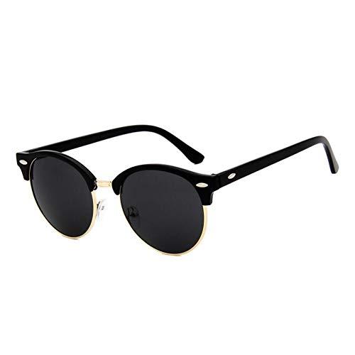TDPYT Retro Sonnenbrille Frauen Männer Klassische Unisex Runde Sonnenbrille Half Frame Rivet Farbfilm Uv400