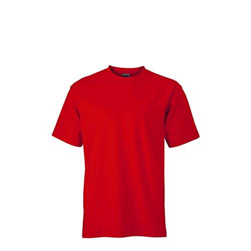 JAMES & NICHOLSON Herren T-Shirt, Einfarbig Rot - Rouge Tomate