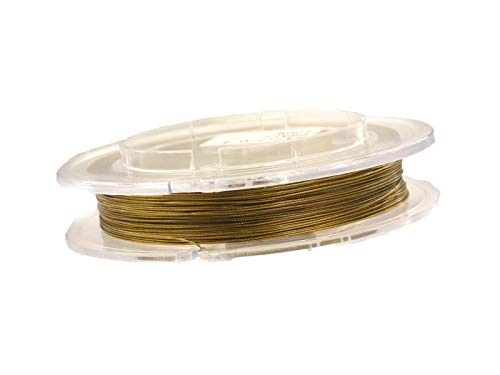 tahldraht 0,5mm, Schmuckdraht für Kette, Armband, nylon ummantelt hautverträglich reißfest, 10m Rolle gold zum Schmuck selbst machen ()