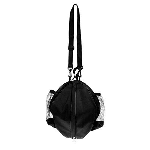 MagiDeal Wasserdichter Basketball Tragetasche mit Verstellbarer Schulterriemen - Umhängetasche und Handtasche, Balltasche Ballsack für Volleyball Fußball usw. Teamsport Sporttasche - Schwarz