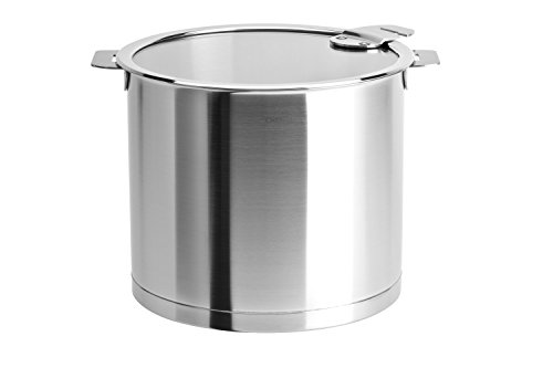 Cristel Strate L Stainless Steel 10 Quart Stockpot with Flat Glass Lid by Cristel