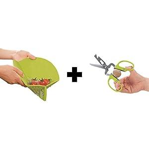 Ambrosya® | Faltbares Schneidebrett mit integriertem Sieb + Schere | Auffangschale Brett Brettchen Kunststoff Messer Rund Schneidbrett Schneidematte Set (Schneidebrett + Schere, Grün)