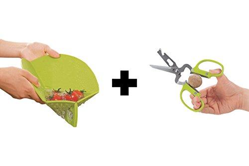 es Schneidebrett mit integriertem Sieb + Schere | Auffangschale Brett Brettchen Kunststoff Messer Rund Schneidbrett Schneidematte Set (Schneidebrett + Schere, Grün) ()