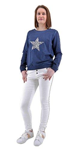 Damen Langarm Shirt Sweatshirt Glitzer Streifen Pailletten Stern in silber S M 36 38 40 (8513) (Blau)