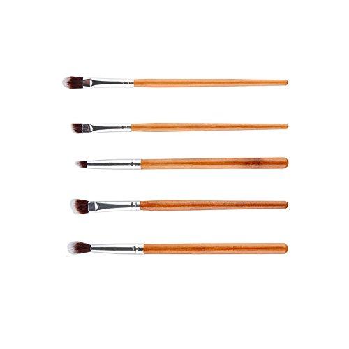 5pcs Brosse des Yeux Poignée en Bambou Fard à Paupières Eyeliner Maquillage