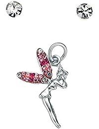 Broche de plata de ley rosa y de cristal transparente diseño de hada con collar y pendiente de Botón juego de diseño de diamantes de cristal