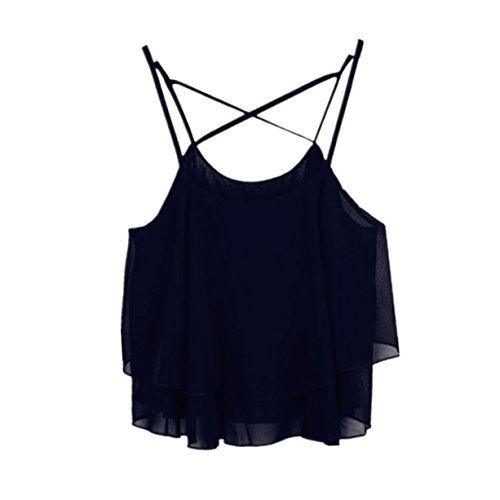 CYBERRY.M Femme Fille Sans Manches Bretelles Plage Débardeur Vest T-shirt Noir