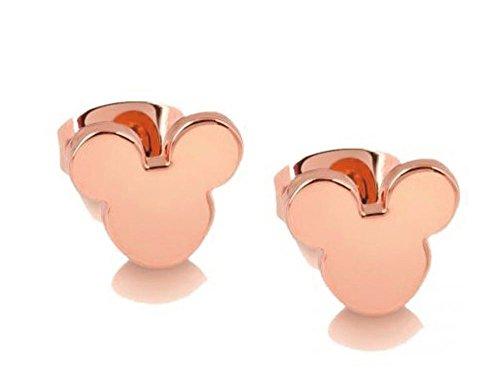findout 14K chapado en oro rosa Simple de acero de titanio 9,5mm Micki–Set de ratón pendientes, regalo para las mujeres niñas (f1768)
