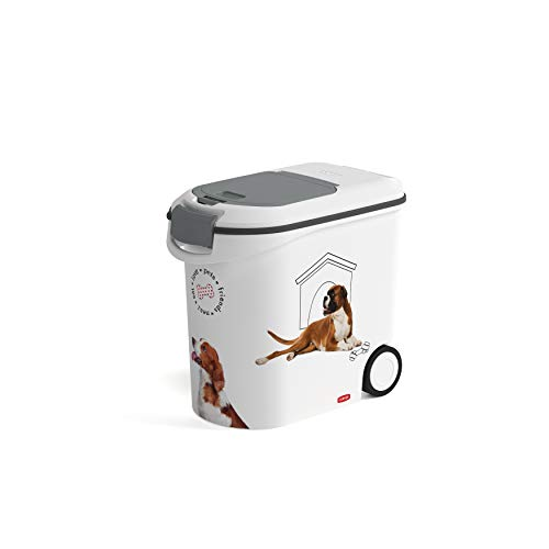 CURVER | Conteneur à croquettes 35L/12Kg- love pets - Chien, Blanc, Pet dry food container, 27,8x49,3x42,5 cm