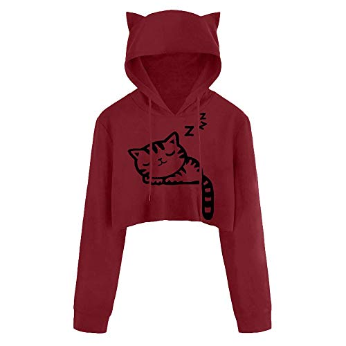 TWIFER 2018 Winter Crop Pullover Langarm Cat Kitty Print Kurze Hoodies ()