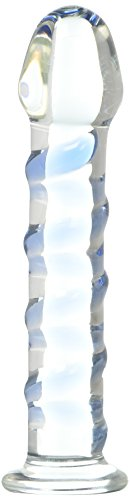 Icicles No.5 Textures Glass Dildo with Blue Spiral