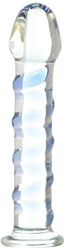 Icicles No.5 Texturen Glas Dildo mit Blau Spirale
