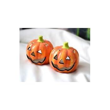 SET OF 2 NEW Ceramic Halloween Pumpkin Tea Light Holders: Amazon.co ...
