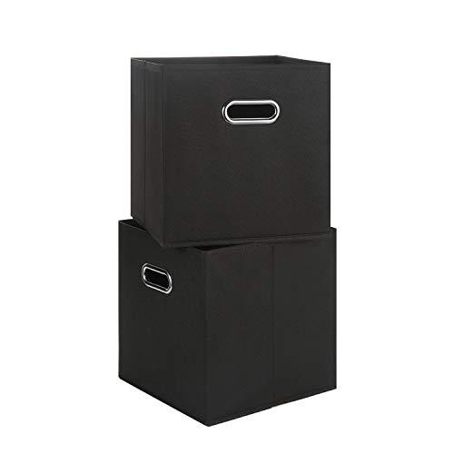 Chippon Faltbare Aufbewahrungsbox, Schubladenwürfel aus Stoff, Organizer-Aufbewahrungsbehälter, 28 x 28 x 28 cm, 2 Stück je Packung, Schwarz