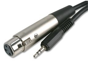 rhinocables® 6m 6 Metre XLR 3 pin Female Socket to 3.5mm stereo Jack Cable Microphone to PC A1314