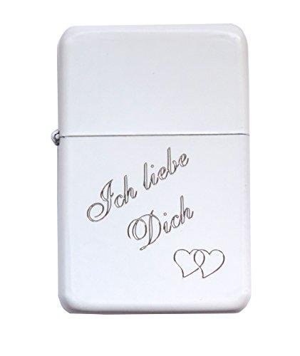 Sturmfeuerzeug / Benzinfeuerzeug matt / weiss mit Gravur : Ich liebe Dich.