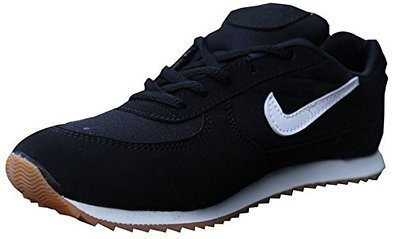 Port Girl's Sports PU Black Running Shoes