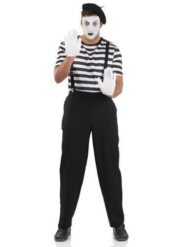 (Herren Schwarz & Weiß Französisch Pantomime Künstler Zirkus Karneval Halloween Kostüm Kleid Outfit M-XL - Schwarz/weiß, X-Large)