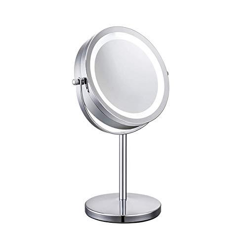 Meowoo Espejo Maquillaje con Luz Luces Espejo Cosmético LED HD Doble cara Aumento 1x/10x, 360° Rotación...