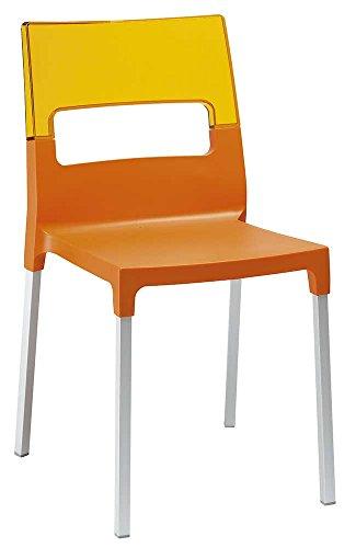 Scab - Sedia Diva, Colore: Arancione Trasparente