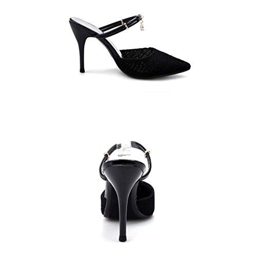 SHEO sandales à talons hauts Mme à talons hauts avec la pointe de l'eau après la pointe des sandales en tissu ( Couleur : Noir , taille : 35 ) Noir