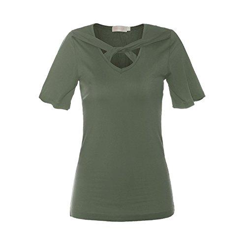 ReliBeauty Damen Kreuz vorne Kurzarm T-Shirts Tunika Tops, Moosgrün, 44 (Vorne Kreuz Tunika)