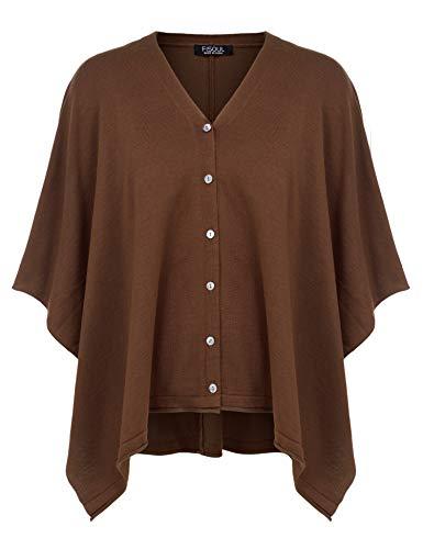 Fisoul elegante poncho donna scialle mantella lavorato a maglia scialle mantello sciarpa per cardigan coffee