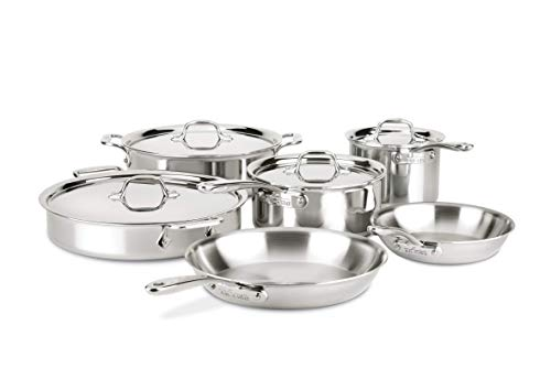 All-Clad ST40010 D3 Compact Stainless Steel Dishwasher Safe Cookware Set, 10-Piece, Silver - All Clad 10