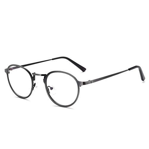 ZQ Anti-Blu-ray-Brille Metall Runde Rahmen Flache Spiegel Trendy Brillengestell Mit Myopie Männer Und Frauen Mit Computer Spiegel Retro Kreative Literarische Gläser (Farbe : SCHWARZ)