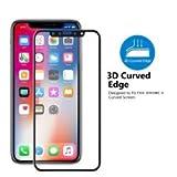 iphone x protector de pantalla,TOZO [Anti Luz Azul] 3D Full Cover Dureza de Grado 9H 2.5D PET [Borde Suave] (Negro)