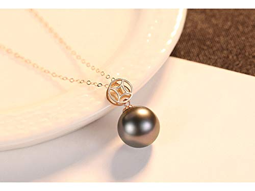 Fashion Jewelry@ 18 Karat Gold Pearls Anhänger Halskette Weiß Akoya/Tahiti Schwarz Perlen für Damen Kettenanhänger,18 Karat Goldkette ist kostenlos enthalten,Black