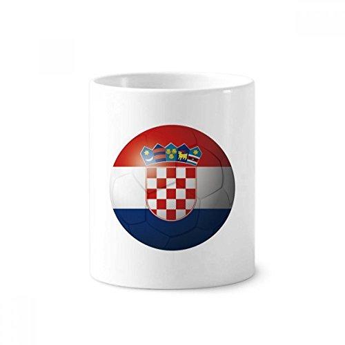 DIYthinker Kroatien Nationalflagge Fußball-Fußball-Keramik Zahnbürste Stifthalter Tasse Weiß Cup...