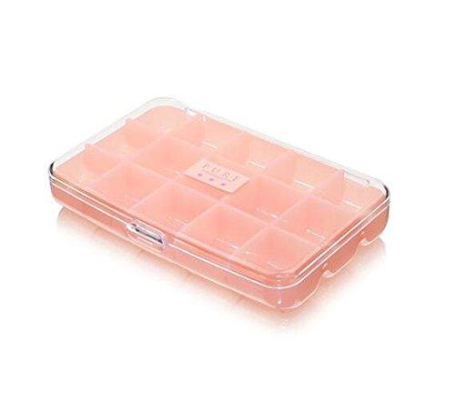 15 Gird Art Craft Fächer Kunststoff-Aufbewahrungsbox Schmuck Ring Ohrring Perlen nähen Pillen Zubehör Organizer Container Fall Halter für Beauty Make Up, doppelseitig Zubehör Pink
