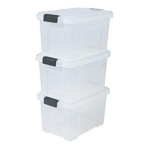 IRIS, 3er-Set Aufbewahrungsboxen 'Power Box', SK-210, mit Klickverschlüssen, Plastik, transparent, 21 L, 46 x 29,7 x 25,7 cm