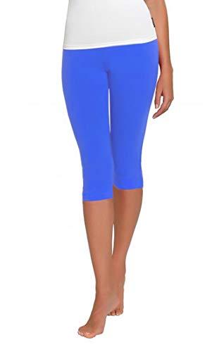 FUNGO Leggings Für Damen 3/4 Länge Capri Damen Sporthose Bunte Yoga Leggins (38, Blau) Blaue Capri Leggings