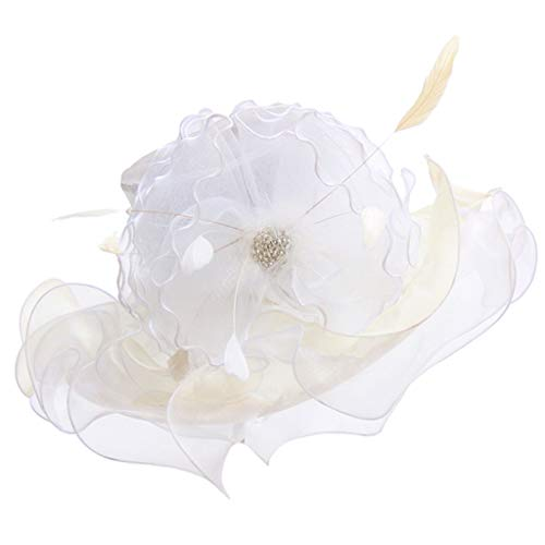ToDIDAF FY11 Kentucky Derby Hat for Women, Organza Church Dress, Sun Hat, Wedding Hat, Fascinator Bridal Tea Party Cocktail Party Shopping Formal Occassion Outdoor Activities (White) - Bridal Lace Saucer