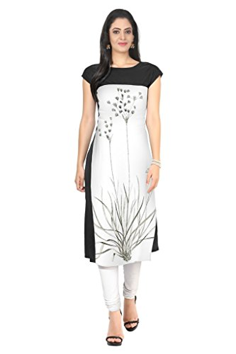 Ziyaa Black And White Colour Boat Neck With Cap Sleeve Faux Crepe Digital Print Kurti  available at amazon for Rs.499