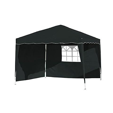 Vanage Pavillon Stella schwarz aus Aluminium mit 2 Seitenwänden, 300x300x260cm,