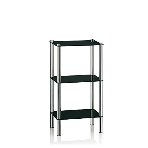 Schwarzer Eckschrank (Kela 22220, Regal, 3 Etagen, Metall/ Sicherheitsglas, 40x 30x 76,5 cm, Levi, Schwarz)