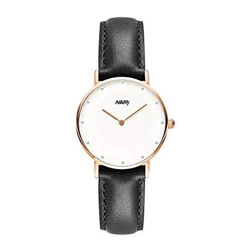 Dilwe Runde Armbanduhr, Modische Qualitäts Paar Quarzwerk Armbanduhr mit verstellbar PU Lederband(Damen-Rose Gold+Schwarz)