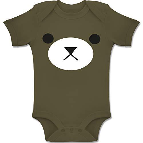 Shirtracer Karneval und Fasching Baby - Teddy Gesicht Fasching - 1-3 Monate - Olivgrün - BZ10 - Baby Body Kurzarm Jungen Mädchen