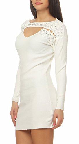 5453 Fashion4Young Damen Feinstrick Pullover Strickkleid Minikleid Perlen Glitzer 2 Designs 10-weiss