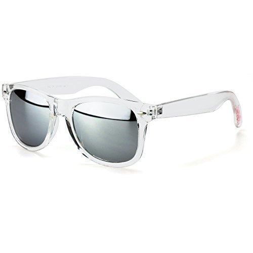 Sense42 Retro Sonnenbrille mit transparent Rahmen, silber verspiegelte Gläser, Nerdbrille Wayfarer-Stil Damen Herren Unisex mit Brillenbeutel