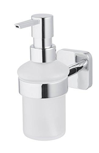 Bisk Forte Gamme Easy Fit Vis ou Colle Distributeur de Savon Liquide, Zinc, Aluminium et Acier Inoxydable, Chrome, 7 x 13 x 16 cm