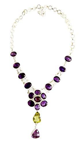 AMETISTA ARGENTO 925 CON VERA E LIMONE pietra preziosa del Topaz handmade collana moda per le donne per l'argento TIBETANO
