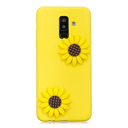 für Samsung Galaxy A6 Plus 2018/A6+ (2018) Hülle Silikon Bumper Gummi Cover Hüllen für Galaxy A6+ (2018) Handyhülle Stoßfest TPU Stoßstange Candy Farbe Schutzhülle (Gelbe Blume) ()