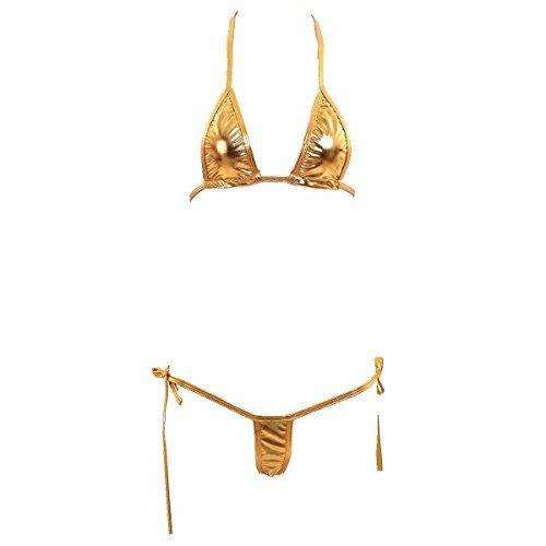 04b0eb8eab2 54% MPITUDE Free Size Shiny Golden Micro Bikini Swimwear Sexy Lingerie  String Bikini Honeymoon Bikini Set for